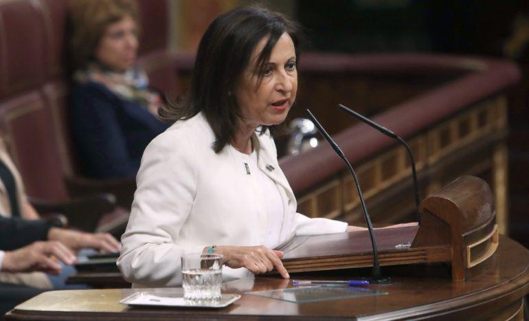 La portavoz del PSOE en el Congreso, Margarita Robles, durante su intervención hoy en el pleno del Congreso de los Diputados