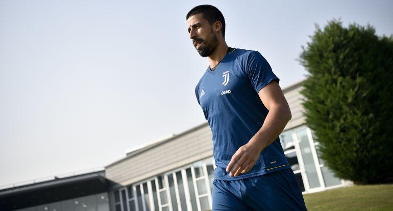 Sami Khedira, durante un entrenamiento con la Juventus de Turín