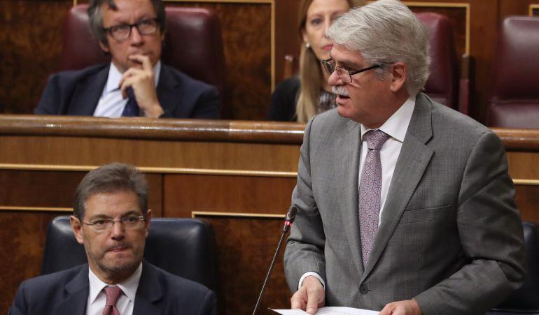 El ministro de Asuntos Exteriores, Alfonso Dastis, este miércoles en el Congreso.