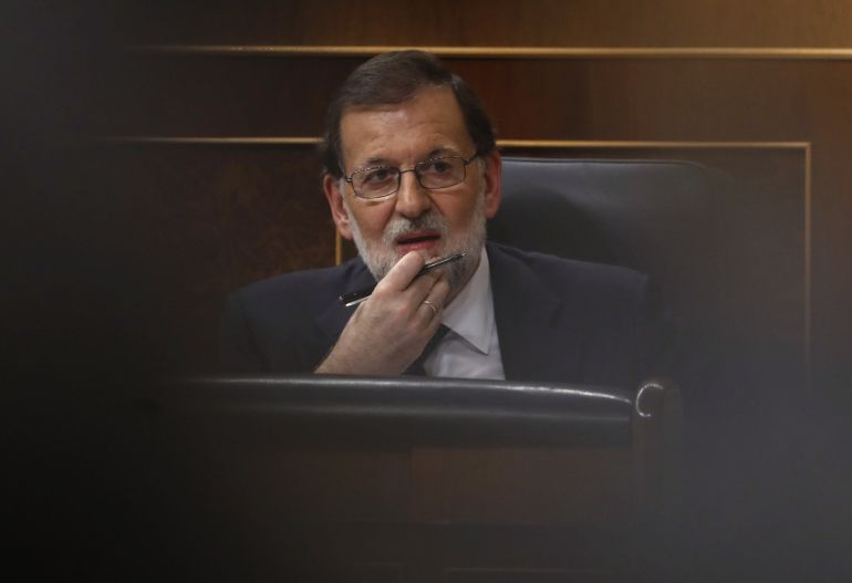 El presidente del Gobierno, Mariano Rajoy, durante el pleno del Congreso en el que compareció para dar cuenta de la situación en Cataluña