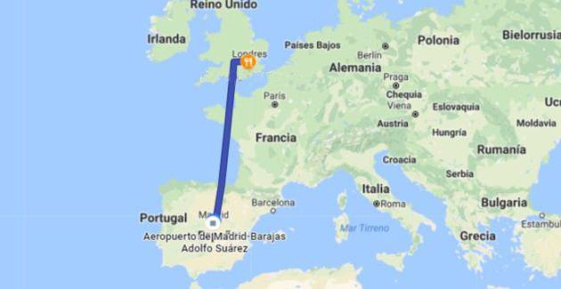 Viaje Madrid - Londres recogido por Google.