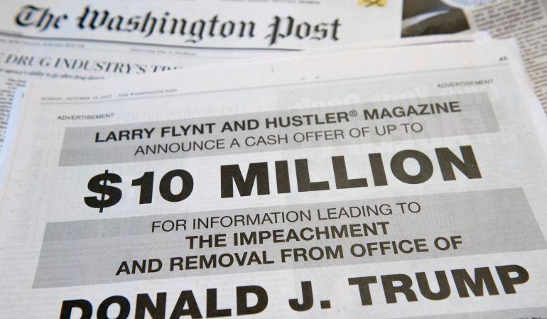 El anuncio en 'The Washington Post' ofreciendo 10 millones de dólares por información que facilite el 'impeachment' de Donald Trump.