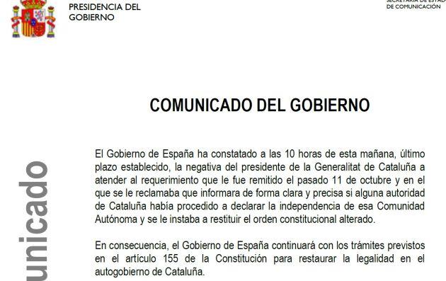 Comunicado del Gobierno a la respuesta de Puigdemont.