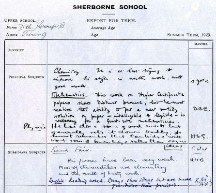 Documento de 1929 con los comentarios de los profesores de Alan Turing