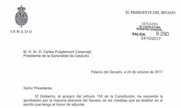 El burofax del Senado a Puigdemont.