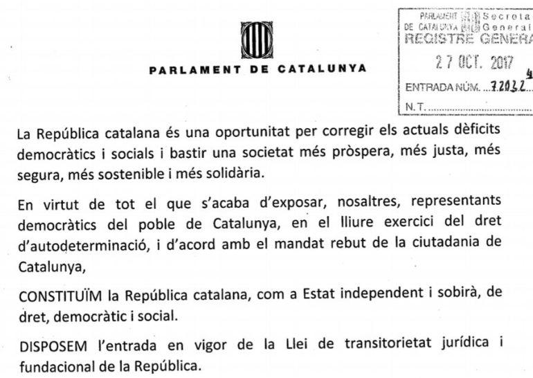 La propuesta de resolución de Junts pel Sí.