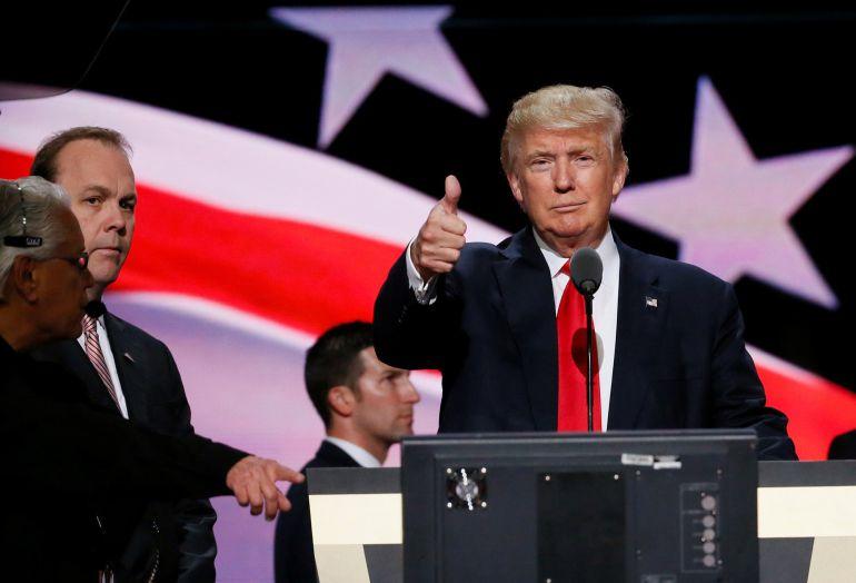 EL presidente Trump durante un acto en Cleveland, Ohio