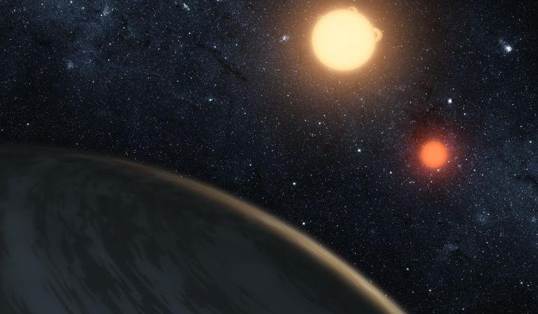Ilustración del planeta Kepler-16b.