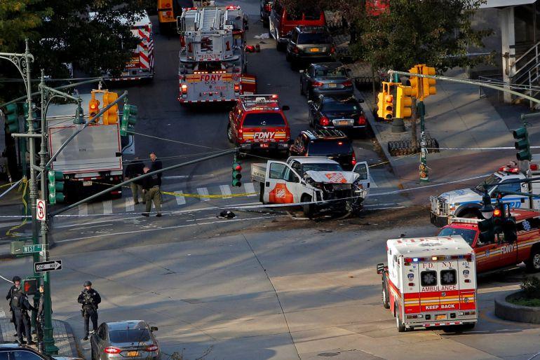 Equipos de emergencia en el centro de Nueva York