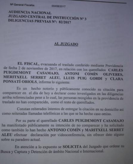 Petición de orden de búsqueda internacional de la Fiscalía para Puigdemont y cuatro exconsellers.