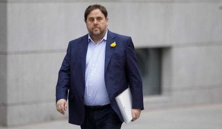 El expresidente de la Generalitat Oriol Junqueras a su llegada a la Audiencia Nacional