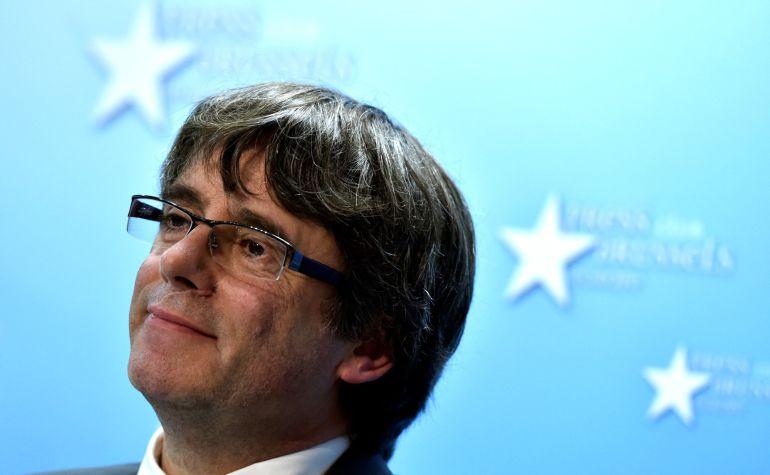 Carles Puigdemont durante la rueda de prensa de Bruselas