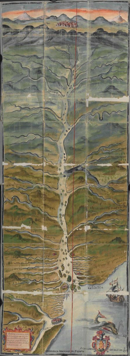 Mapa del río Amazonas, Martín de Saavedra y Guzmán, BNE, 1639