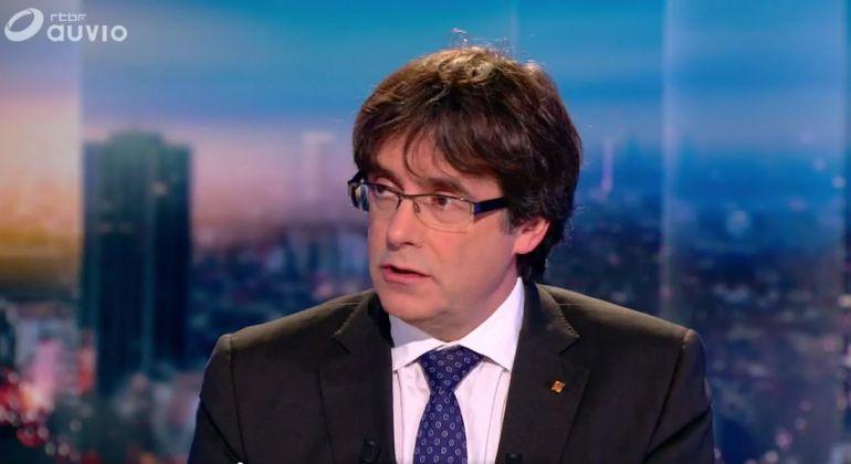 Carles Puigdemont durante su entrevista en la televisión belga