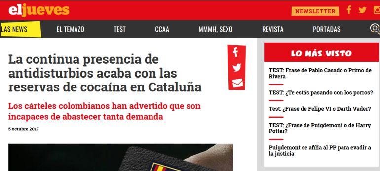 Captura de pantalla con la información publicada por la revista satírica de 'El Jueves'.