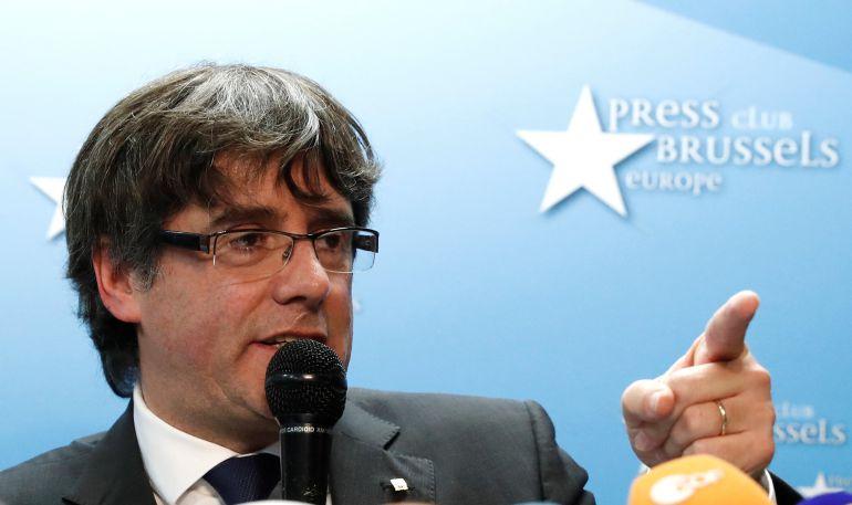 Puigdemont durante su declaración a los medios en Bruselas del día 31 de octubre