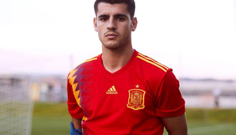 Álvaro Morata, con la camiseta de España para el Mundial de Rusia 2018.