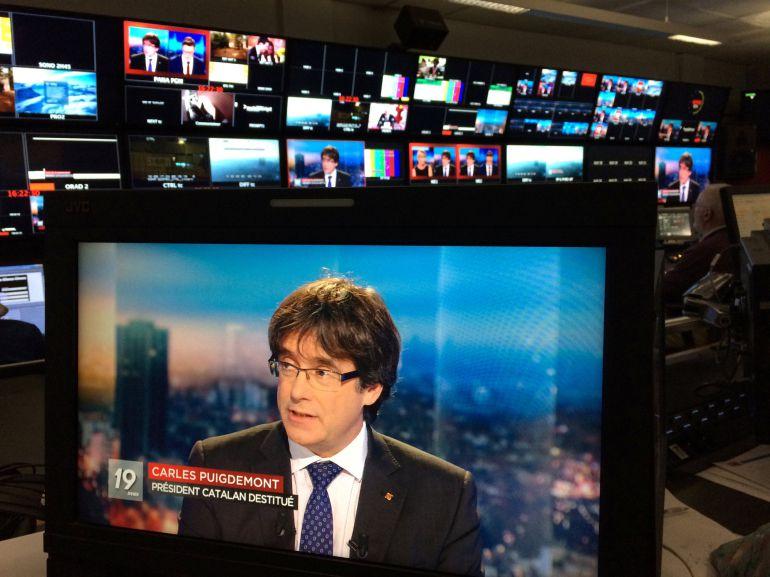 El expresidente catalán, Carles Puigdemont, durante una intervención en la televisión belga