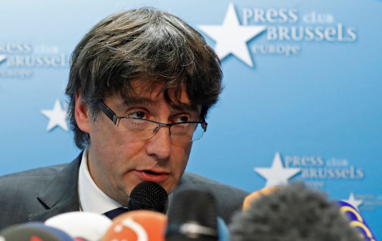 Puigdemont durante la rueda de prensa del 31 de octubre en Bruselas