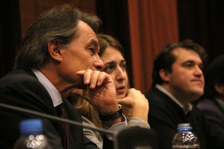 El presidente del PDeCAT, Artur Mas, la coordinadora general, Marta Pascal, y el coordinador d'Organització, David Bonvehí
