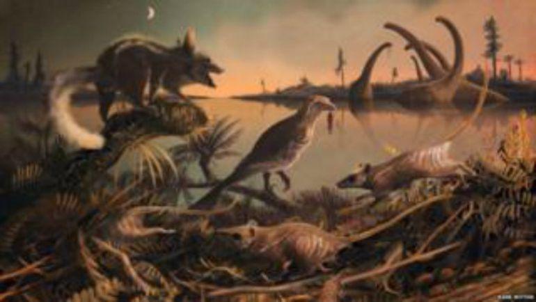 Recreación de la fauna que existió en la costa sur de Inglaterra hace 145 millones de años y que muestra unas musarañas de las que se cree descienden la mayor parte d elos mamíferos, incluido, el ser humano.