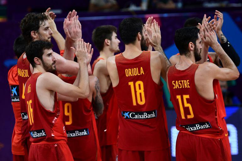 La selección española durante el partido contra Alemania en el Eurobasket.