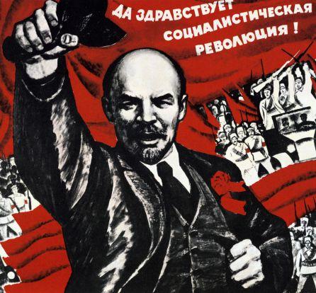 Lenin en un cartel propagandístico de la revolución