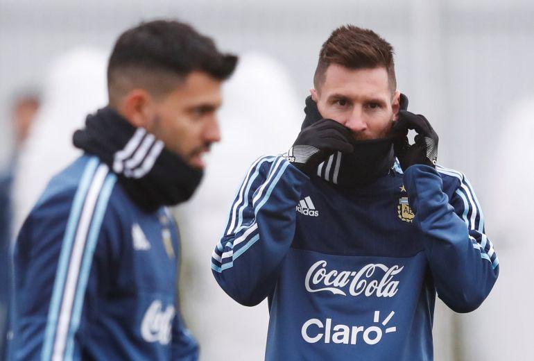 Messi durante el entrenamiento previo al amistoso contra Rusia.