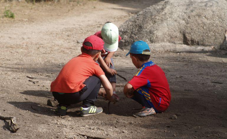 Un grupo de niños de la escuela al aire libre 'El Saltamontes'