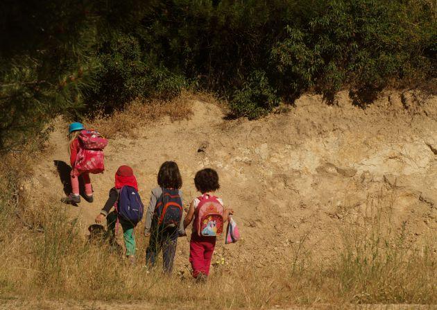 Alumnos de una escuela libre en la sierra de Madrid.