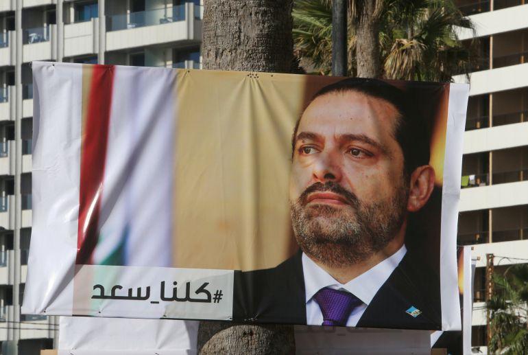 Posters del Primer Ministro del Libano al Hariri , que ha dimitido de su cargo tras recibir presiones