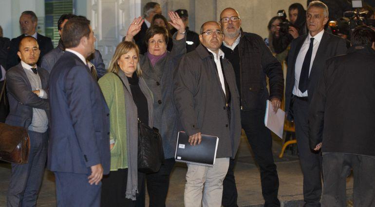 Ramona Barrufet, Anna Simo, Lluis Guino and Luis Maria Corominas saliendo ayer del Supremo