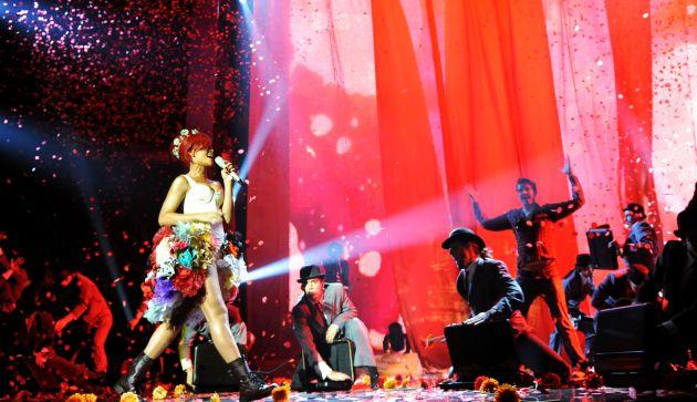 Rihanna en los EMAs de 2010, en Madrid.
