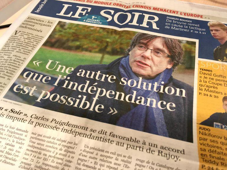 Portada del diario belga 'Le Soir'.