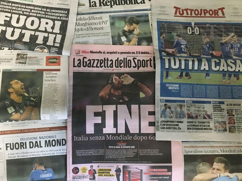 Portadas de la prensa italiana un día después de que la selección 'azzurra' se quede fuera del Mundial