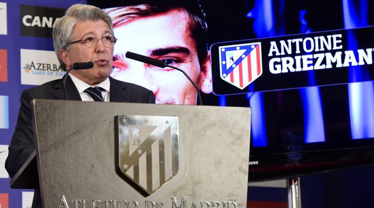 Enrique Cerezo, en la presentación de Antoine Griezmann como jugador del Atlético.