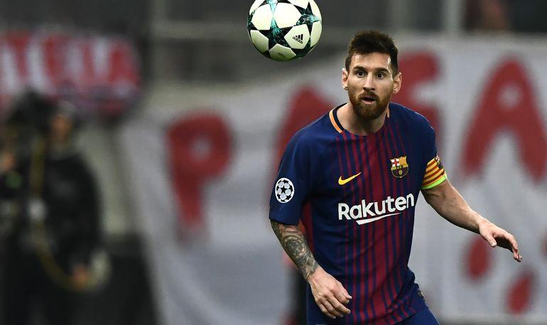 Leo Messi, en el partido del Barcelona en la Champions ante Olympiacos.