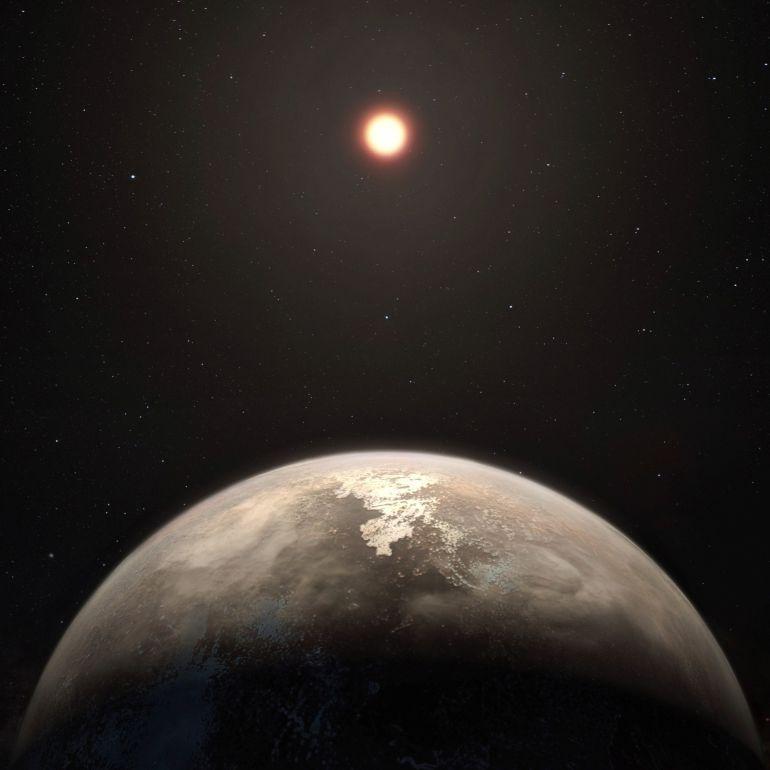 Esta recreación artística muestra al planeta templado Ross 128 b, que tendría un tamaño aproximado al de la Tierra, y es el segundo exoplaneta del tipo terrestre situado más cerca de nosotros.