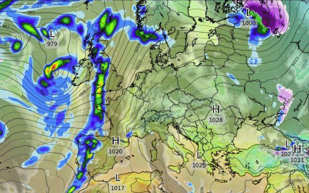 La previsión señala que una borrasca entrará por Galicia el 24 de noviembre.