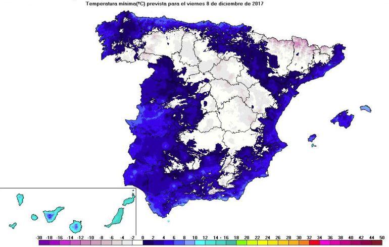 Mapa de temperaturas mínimas previsto para el viernes 8 de diciembre, día de la Constitución.