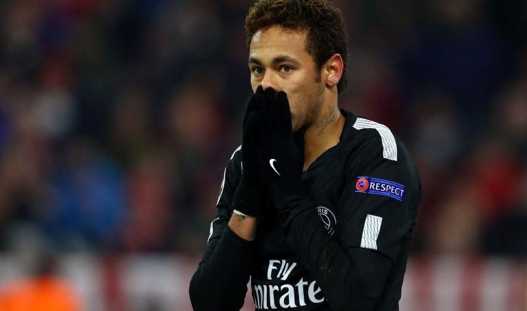 Neymar, en la derrota del PSG ante el Bayern.