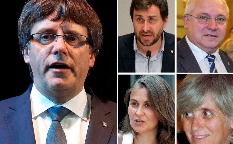 De izquierda a derecha y de arriba a abajo: el expresidente del Gobierno catalán Carles Puigdemont ,el exconsejero de Salud Antoni Comin, el de Cultura Lluís Puig , de Agricultura Meritxell Serret , y de Enseñanza, Clara Ponsatí.