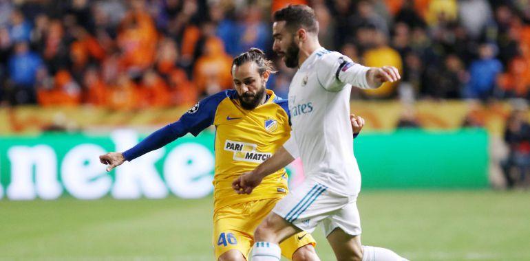 Carvajal, durante el partido de Champions ante el Apoel