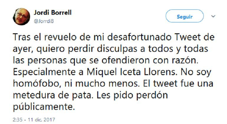 El tuit del profesor Hernández Borrell pidiendo disculpas.