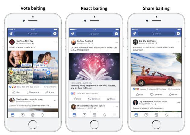 Facebook muestra algunos de los contenidos que comenzará a penalizar.