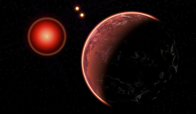 Recreación de Próxima b y las tres estrellas del sistema solar Alpha Centauri.
