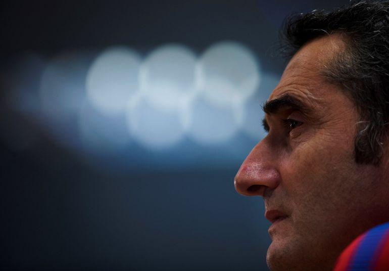 Ernesto Valverde, durante una rueda de prensa