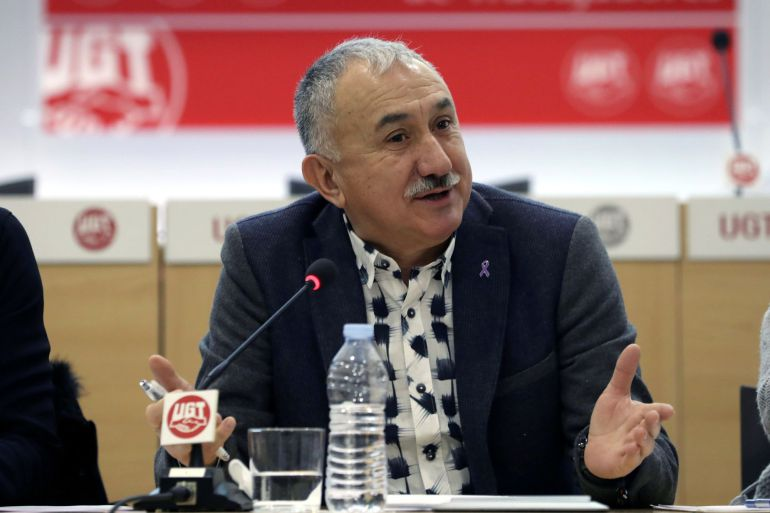 El secretario general de UGT, Pepe Álvarez, durante su participación en un desayuno informativo en el que ha analizado los retos y propuestas del sindicato para 2018.