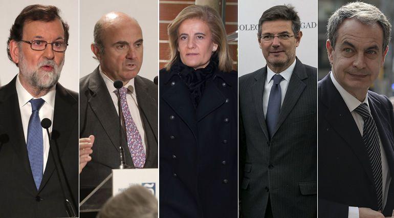 De izquierda a derecha: Mariano Rajoy, Luis de Guindos, Fátima Báñez, Rafael Catalá y José Luis Rodríguez Zapatero