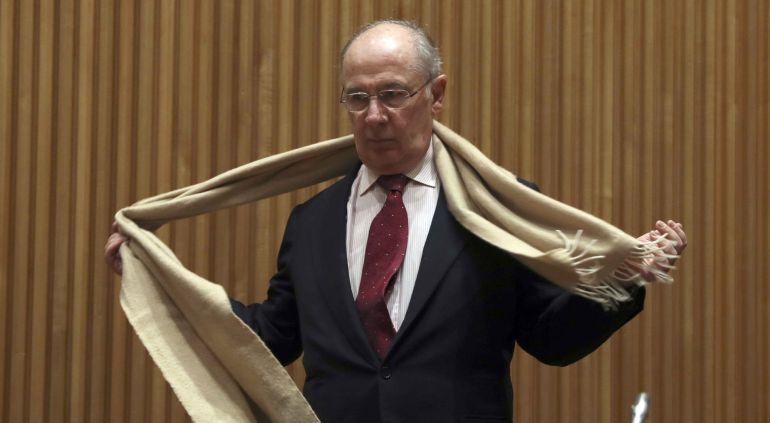 El exvicepresidente y exministro de Economía Rodrigo Rato, a su llegada a la Comisión de investigación de la crisis financiera y rescate bancario del Congreso.